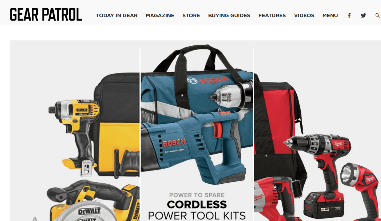 A snapshot of GearPatrol's website...