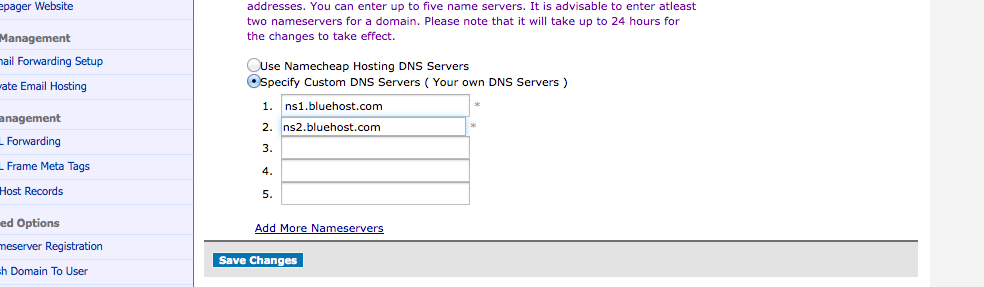 namecheap nameservers