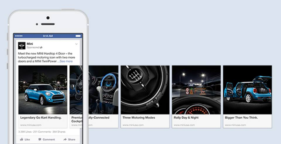 MINI used the carousel format as a storytelling canvas to take people on a virtual tour of the new MINI Hardtop 4 Door.