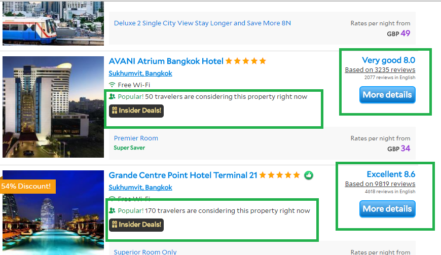 agoda hotel social proof search