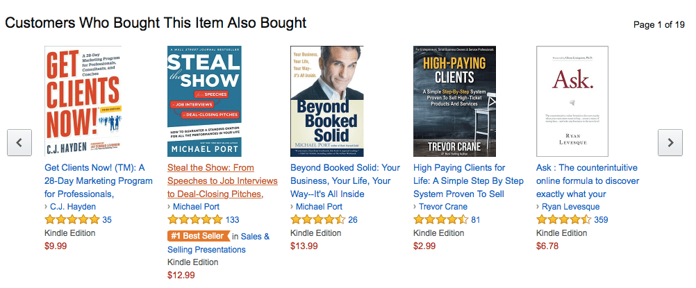 """Here, Amazon suggests titles similar to the book """"Book Yourself Solid"""" in case that isn't exactly the title you're looking for."""