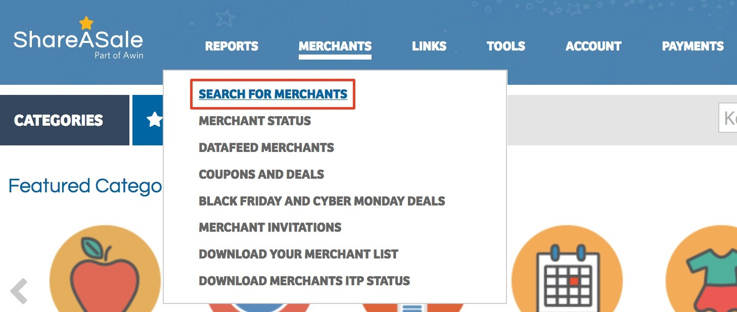 search for merchants on ShareASale