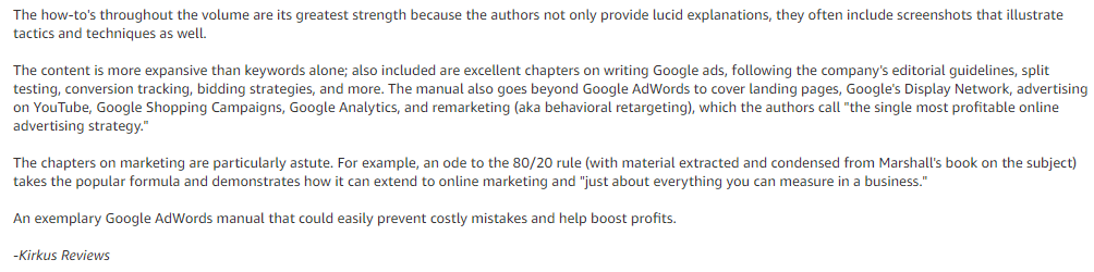 kirkus reviews - Ultimate Guide to Google AdWords1