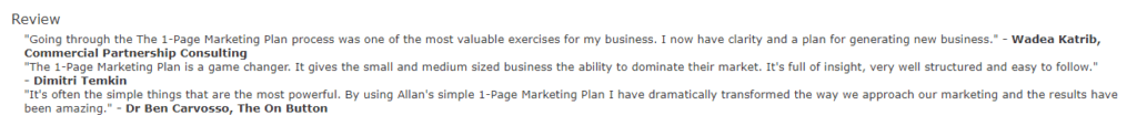 reviews - 1-Page Marketing Plan