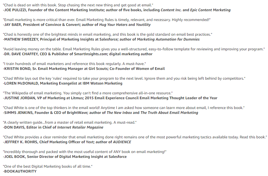 reviews - email marketing rules