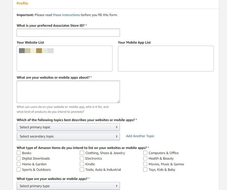 amazon associates sign up process 2