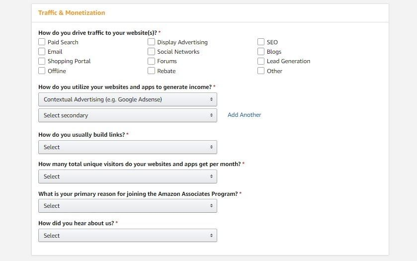 amazon associates sign up process 3
