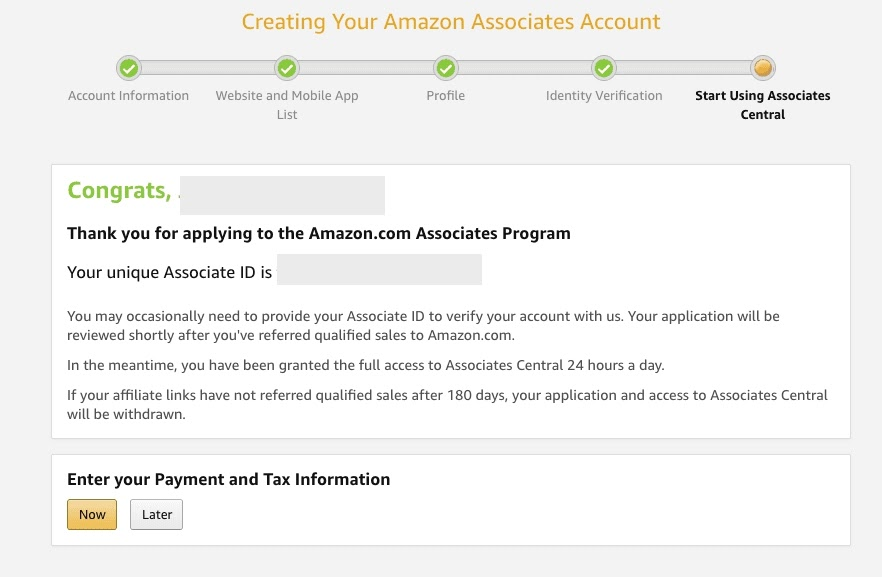 amazon associates sign up process4
